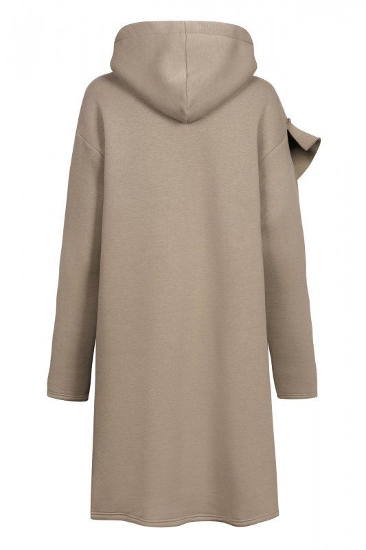 Bawełniana sukienka/bluza z falbaną LN119 - capucino - 1