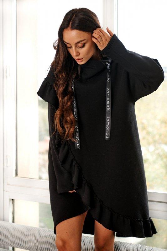 Bawełniana sukienka/bluza z falbaną LN119 - Czarna - 6