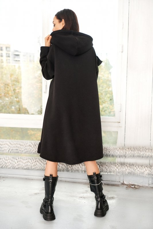 Bawełniana sukienka/bluza z falbaną LN119 - Czarna - 10