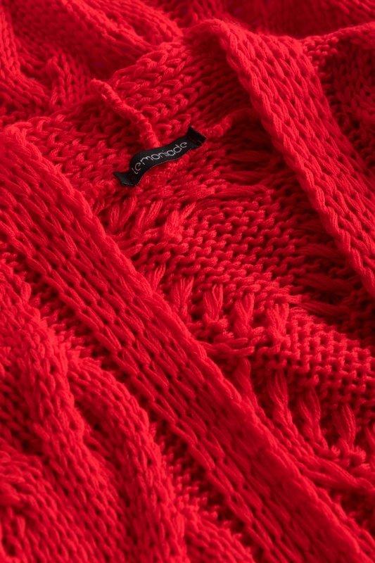Luźny kardigan ze splotem -  LS297 - czerwony -9