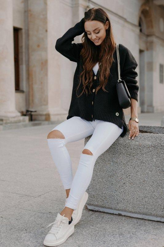 Sweter z guzikami i dłuższym tyłem - LS307-czarny -2