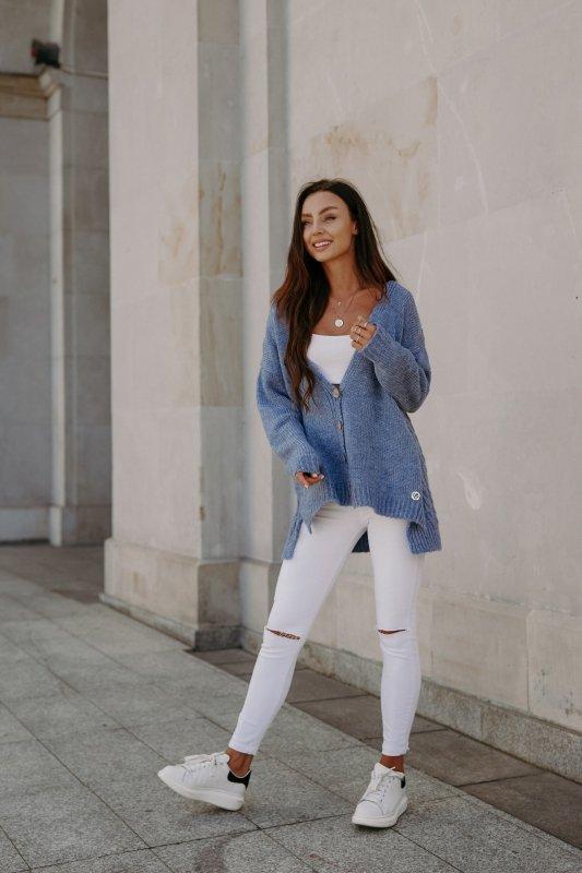 Sweter z guzikami i dłuższym tyłem - LS307-jeans -1