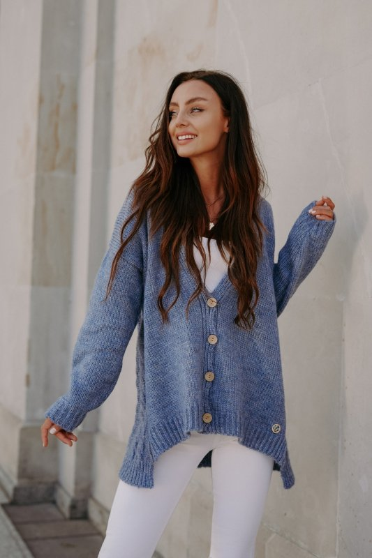 Sweter z guzikami i dłuższym tyłem - LS307-jeans -5