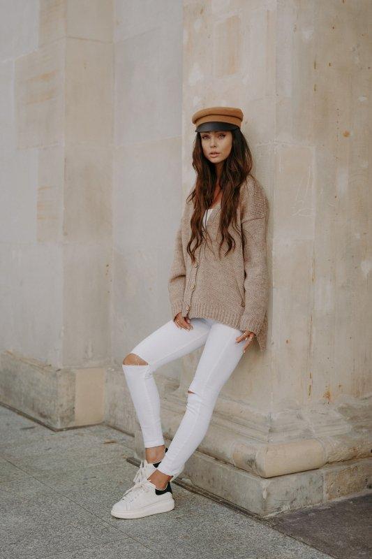 Sweter z guzikami i dłuższym tyłem - LS307-capucino -6