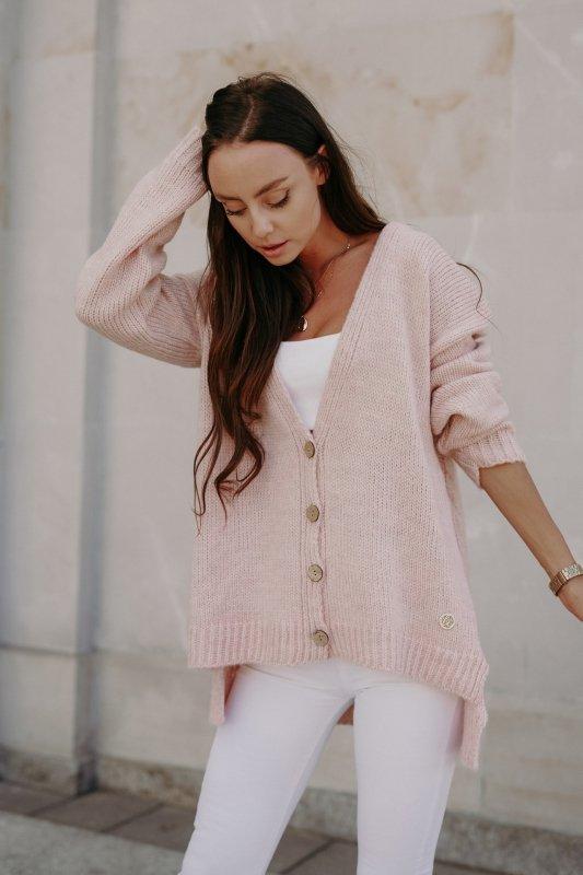 Sweter z guzikami i dłuższym tyłem - LS307- pudrowy róż -5