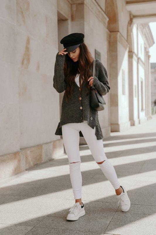 Sweter z guzikami i dłuższym tyłem - LS307-grafit -3