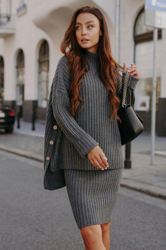 Komplet swetrowy – spódnica i sweter z golfem - grafit - 3