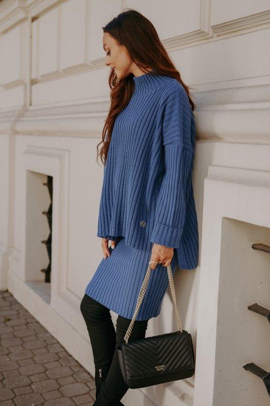 Komplet swetrowy – spódnica i sweter z golfem - jeans - 6