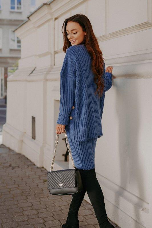 Komplet swetrowy – spódnica i sweter z golfem - jeans - 7