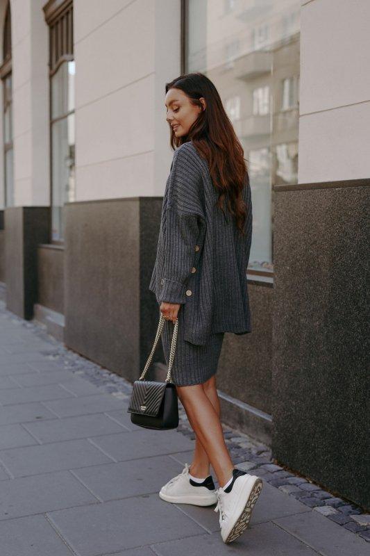 Komplet swetrowy – spódnica i sweter z golfem - grafit - 10