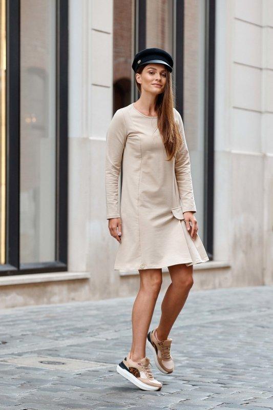 Bawełniana sukienka z imitacją kieszonki L346