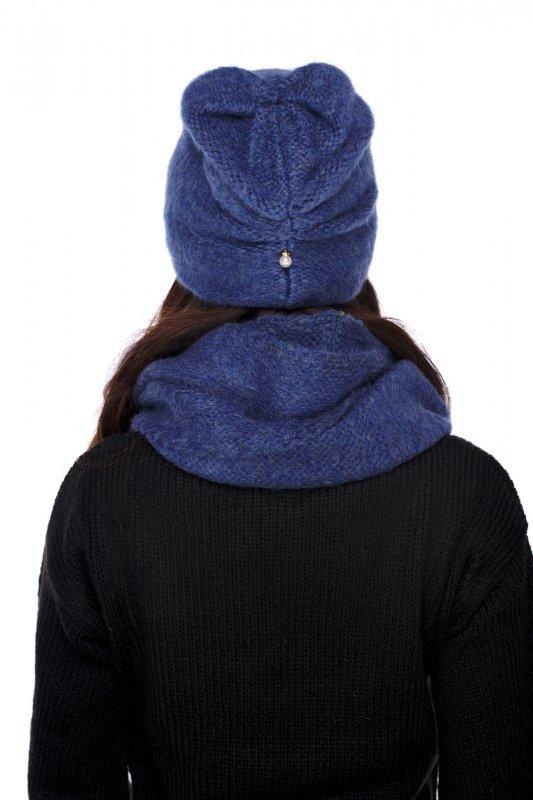 Basicowy komplet czapka z perełką i komin LC141 - jeans - 3