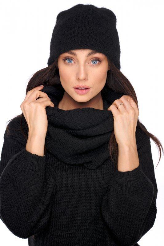 Basicowy komplet czapka z perełką i komin LC141 - czarny - 1