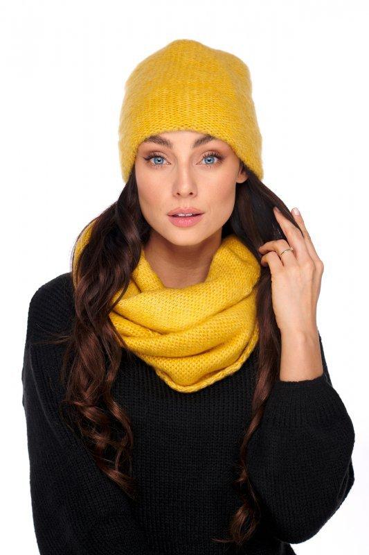 Basicowy komplet czapka z perełką i komin LC141 - czarny - 4