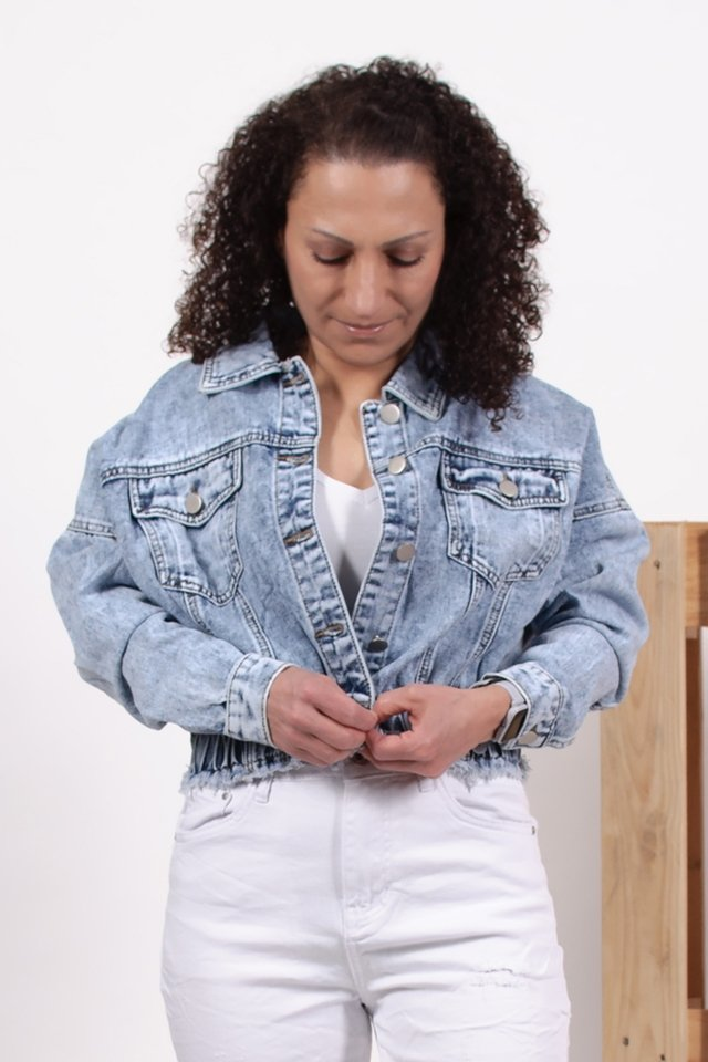 Krótka kurtka damska jeansowa oversize - blue-7