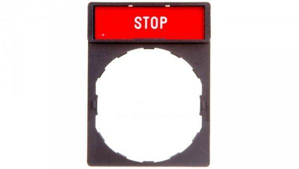 Szyld opisowy 30x40mm z etykietą 8x27mm STOP ZBY2304