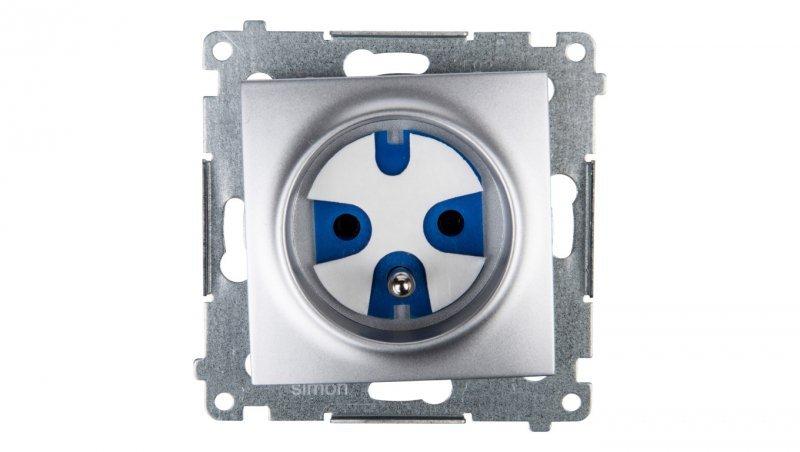 Kontakt Simon 54 Gniazdo pojedyncze DATA z/u IP20 z kluczem uprawniającym srebrny mat DGD1.01/43