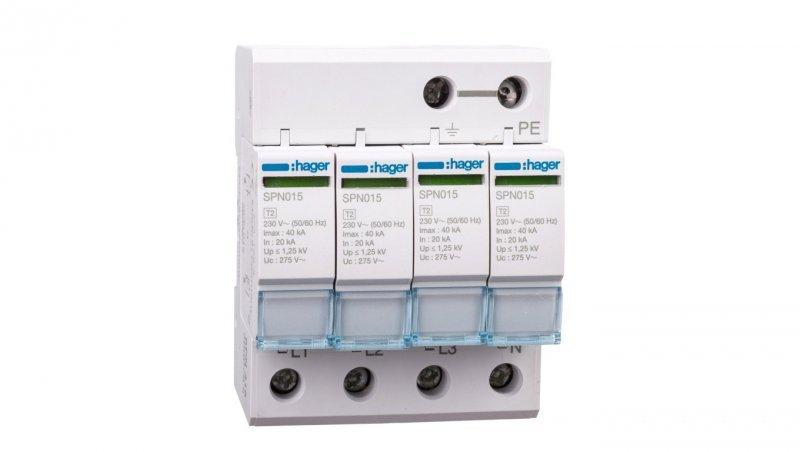 HAGER Ogranicznik przepięć C Typ 2 4P 20kA SPN415