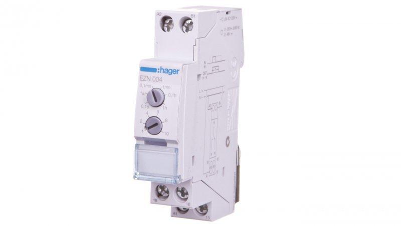 HAGER Przekaźnik czasowy 1P 8A 0,1sek-10h 12-230V AC/12-48V DC załączenie na czas T po podaniu impulsu EZN004