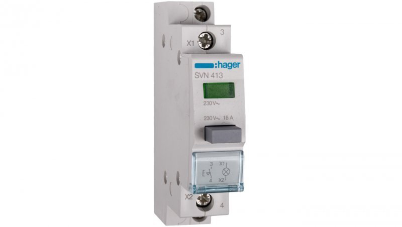 HAGER Przełącznik przyciskowy z lampką zieloną 16A 1Z SVN413