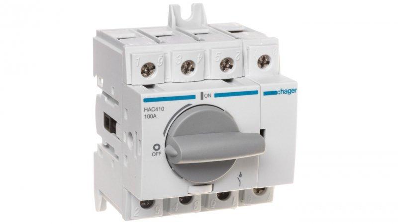 HAGER Rozłącznik izolacyjny 4P 100A HAC410