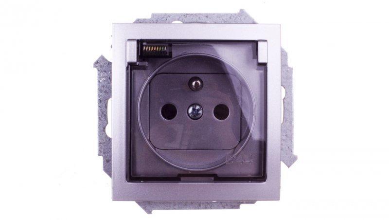 KONTAKT Simon 15 Gniazdo bryzgoszczelne z/u IP44 z klapką transparentną aluminium metalizowane 1591940-026A