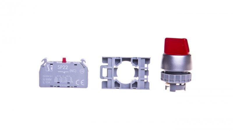 Przełącznik 2 położeniowy 22mm czerwony 1R bez samopowrotu SP22-P.C-01