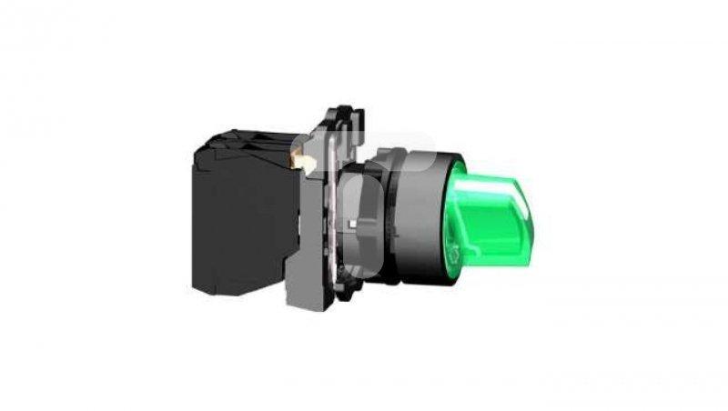 Przełącznik 3 położeniowy pokrętło 22mm zielony 1Z 1R bez samopowrotu z podświetleniem XB5AK133B5