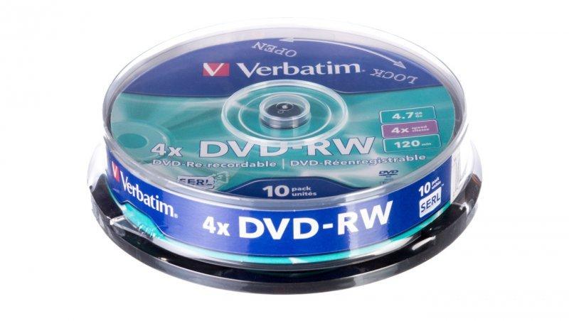 Płyta DVD-RW VERBATIM 4,7GB x4 MATT SILVER /CAKE 10szt./