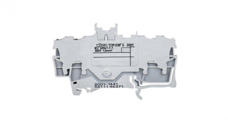 Złączka szynowa podwójna 4-przewodowa z miejscem na oznacznik szara 2001-1441 TOPJOBS