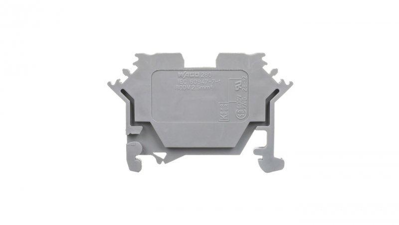 Złączka szynowa 2-przewodowa 2,5mm2 szara 280-601
