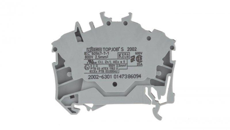 Złączka szynowa 3-przewodowa 2,5mm2 szara 2002-6301 TOPJOBS