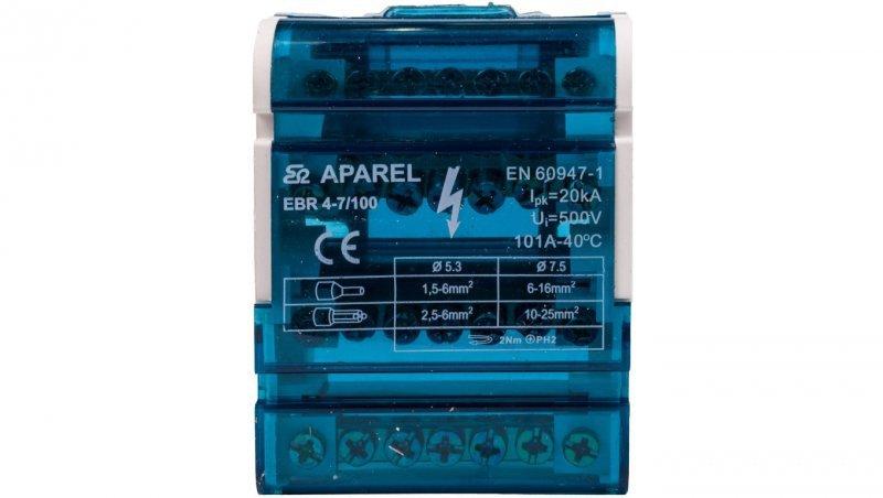 Blok listew rozdzielczych 4-biegunowy 100A EBR 4-7/100 R33RA-02020200101
