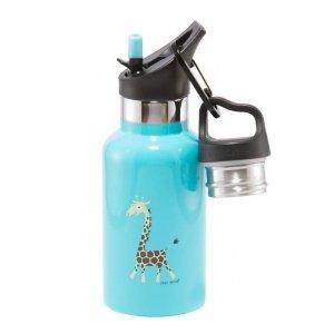 Butelka termiczna ze słomką ze szlachetnej stali nierdzewnej -Niebieska Żyrafka