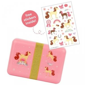 A Little Lovely Company - Śniadaniówka Lunchbox Konik z naklejkami