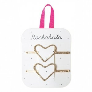 Rockahula Kids - wsuwki do włosów dla dziewczynki Glitter Heart Gold