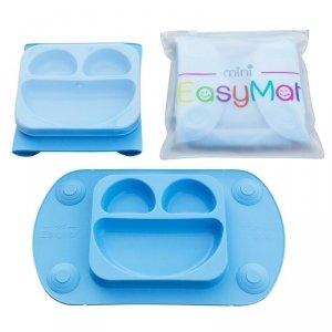 EasyTots - EasyMat Mini 2in1 BLUE silikonowy talerzyk z podkładką - lunchbox