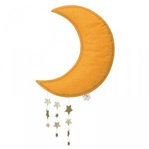 Picca LouLou - Dekoracja ścienna Sparkle Moon YELLOW with Stars 45 cm