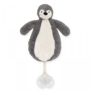 Jollein - Przytulanka dou dou z zawieszką na smoczek Pingwin STORM GREY