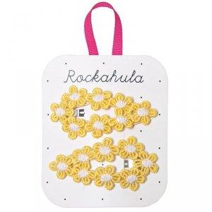 Spinki do włosów dla dziewczynki Szydełkowy Żółty Kwiat -  Rockahula Kids