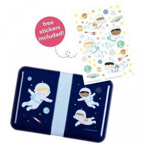 Śniadaniówka Lunchbox dla chłopca Astronauta z naklejkami -  A Little Lovely Company