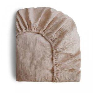 Prześcieradło do łóżeczka dla dziecka 120 x 60 cm Breathable Cotton Natural - Mushie