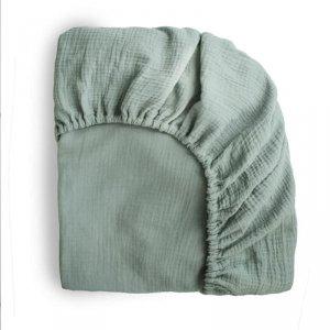 Prześcieradło do łóżeczka dla dziecka 120 x 60 cm Breathable Cotton Roman Green - Mushie