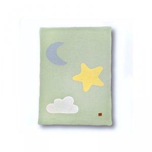 Kołderka, mata, kocyk dla niemowlaka z oddychającej BIO bawełny organicznej GOTS Day & Night Mint - Hi Little One