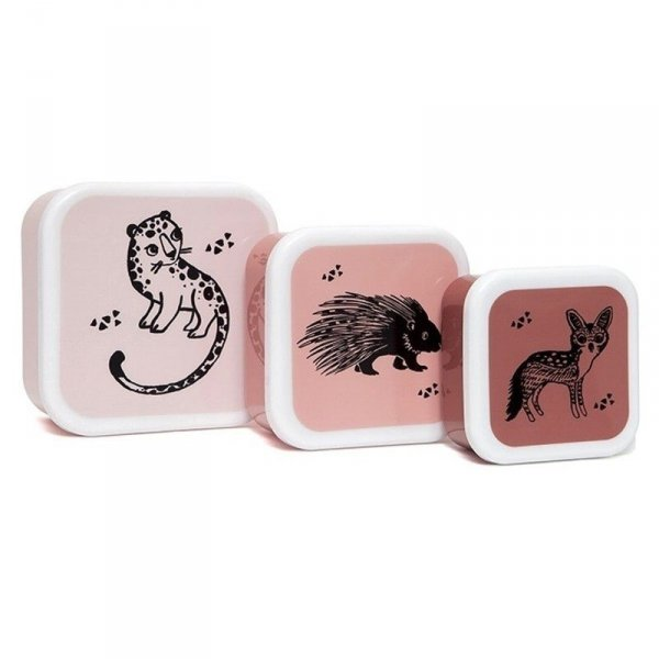 Zestaw 3 pudełek śniadaniowych -  lunchbox - różowe