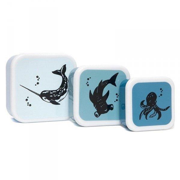 Zestaw 3 pudełek śniadaniowych -  lunchbox - niebieskie