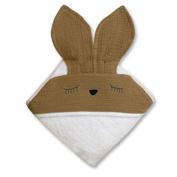 Ręcznik z kapturkiem dla niemowlaka śpiący króliczek w kolorze brązowym 100/100
