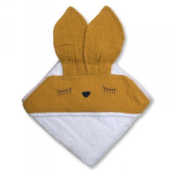 Ręcznik z kapturem dla niemowlaka śpiący króliczek w kolorze jasny brąz 100/100