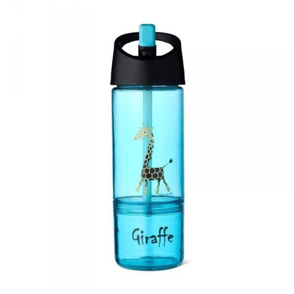 Bidon z pojemnikiem na przekąski 2w1 - Niebieska Żyrafka
