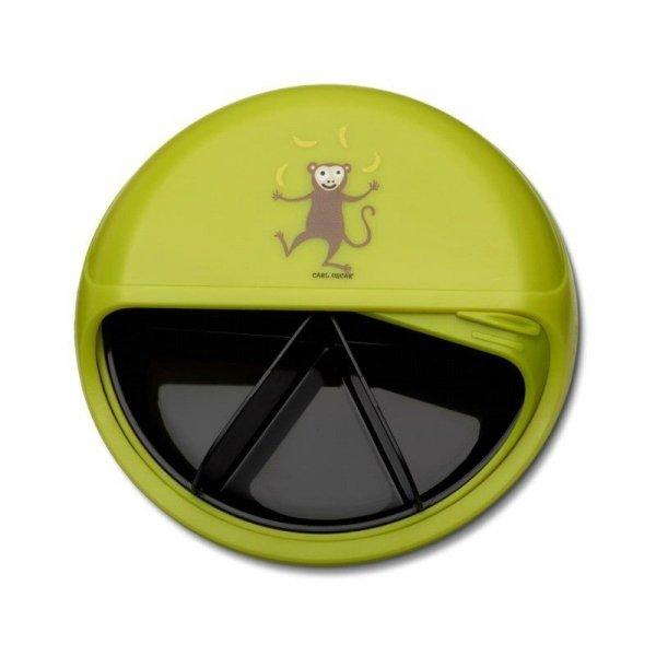 5 komorowy obrotowy pojemnik na przekąski - zielona Małpka